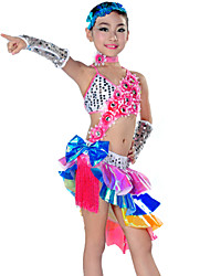 Latin Dance Outfits Children's Performance Polyester Tassel(s) 5 Pieces Dress / Neckwear / Headpieces / SleevesDress length M(120):62.5cm