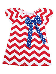 New Cute Summer Baby Girl Stripe T-Shirt Bowknot Round Neck Cap Sleeve Sweet Top