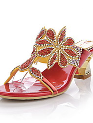 Women's Shoes Leather Chunky Heel Heels Sandals / Slippers Party & Evening / Dress / Casual Red / Gold