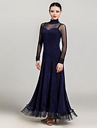 Robes(Bordeaux / Bleu foncé,Satin stretch / Tulle,Danse moderne)Danse moderne- pourFemme Au drapée Spectacle Danse de Salon Taille moyenne