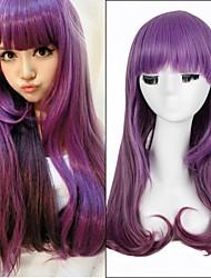 venta caliente! pelucas largas rectas europeos pelucas sintéticas de color púrpura
