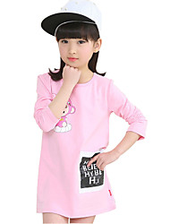 Girl's Cotton Spring / Fall Cartoon Pattern Round Collar  Soft  Comfortable Long T-Shirt