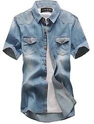 Men's Short Sleeve Shirt , Cotton Casual Color Block