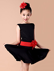 Latin Dance Dresses Children's Performance Spandex / Milk Fiber Flower(s) 2 Pieces Dress / BeltDress length S(110):58cm / M(120):61cm /