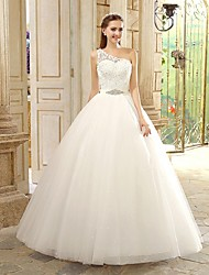 Princess Wedding Dress Floor-length One Shoulder Lace with Beading