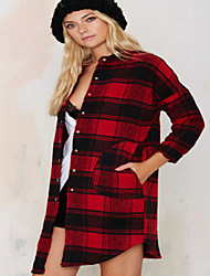 Women's Patchwork Red Shirt , Shirt Collar Long Sleeve