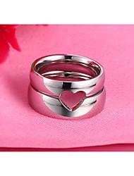 Contracted Heart Puzzle Smooth Couples Stainless Steel Ring