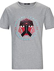Lesmart Hommes Col Arrondi Manche Courtes T-shirt Gris / Bleu marine-TZS1630