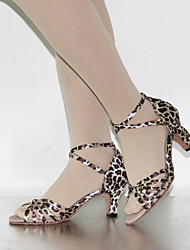 Customizable Women's Dance Shoes Latin / Dance Sneakers Leatherette Cuban Heel Leopard