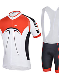 CHEJI Men Breathable Bib Short Sleeve Cycling Jersey 3D Pad Bib Shorts