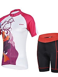 CHEJI Summer Women's Breathable Quick Dry Short Sleeve Bicycle Cycling Jersey 3D Pad Pant