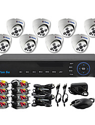 YanSe® 8CH D1 DVR Kit IR Color Dome Camera Security Cameras System CCTV 705CC08