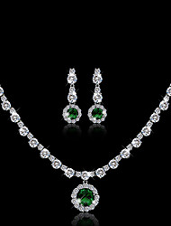 Bridal Jewelry Sets Necklace Earrings Set Crystal Copper Suit