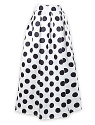 Women's Polka Dot White / Black High Waist Pleated Maxi Skirt