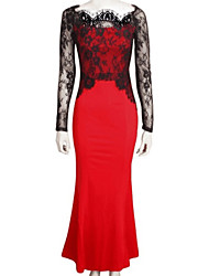 Women's Casual / Day Trumpet/Mermaid Dress , Round Neck Maxi Polyester / Lace