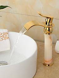 Bathroom Sink Faucet Modern Tall  Waterfall Wide handle Imitation jade