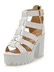Zapatos de mujer-Tacón Robusto-Tacones-Sandalias-Oficina y Trabajo / Casual / Fiesta y Noche-Semicuero-Negro / Blanco