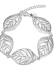 Lureme® Fashion Five Leaf Hollow Out Silver Plated Chain Bracelet for Women