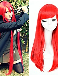 Popular! Long Straight Red Color Cosplay Style Synthetic Wigs Top Quality