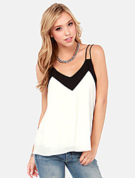 Moon Sunday Women's Color Block White Vest , V Neck Sleeveless