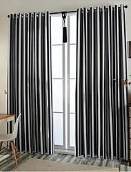 Deux Panneaux Européen Rayure Noir Chambre à coucher Polyester Rideaux occultants rideaux