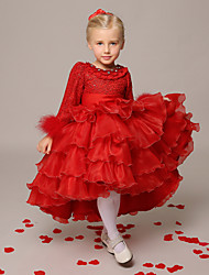 Ball Gown Asymmetrical Flower Girl Dress - Organza Long Sleeve