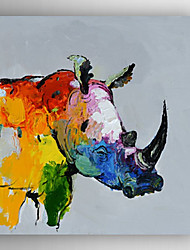 Oil Painting Abstract Rhino Read Hand Painted Canvas with Stretched Framed Ready to Hang