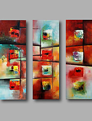 "Ready to Hang Stretched Hand-Painted Oil Painting Canvas Three Panels 36""x36"" Wall Art Modern Abstract Red Blue"