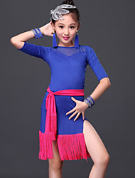 Latin Dance Dresses Children's Performance Milk Fiber Tassel(s) 3 Pieces Black / Royal Blue Latin Dance Dress / Belt / Shorts