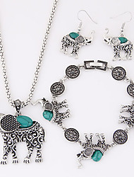 Women's European Fashion metal Imitation Turquoise Cute Little Elephant Necklace Earrings Bracelet Set
