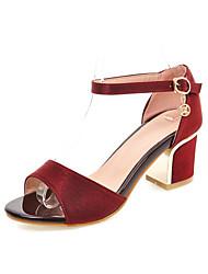 Zapatos de mujer-Tacón Robusto-Tacones-Sandalias-Casual-Semicuero-Negro / Rojo / Beige
