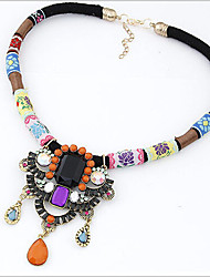 MISSING U Vintage / Party Alloy / Rhinestone / Gemstone & Crystal / Resin / Leather Statement Necklace