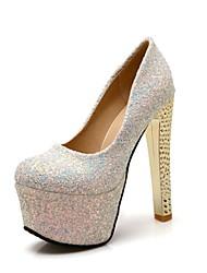 Calçados Femininos - Saltos - Saltos - Salto Agulha - Preto / Azul / Prateado - Courino -Casamento / Escritório & Trabalho / Festas &