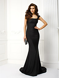 Formal Evening / Black Tie Gala Dress - Beautiful Back Trumpet / Mermaid Scoop Court Train Jersey with Embroidery