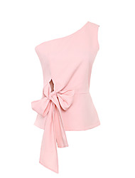 Women's Solid Pink / White Blouse,One Shoulder Sleeveless