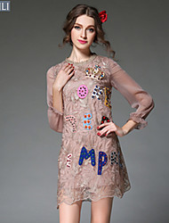 Women Europe Fashion Embroidery Lace Bead Loose Patchwork See Through 3/4 Sleeve Vintage Elegant Dress