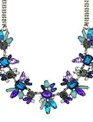 Latest Design Beautiful Rhinestone Flower Statement Shourouk Necklace