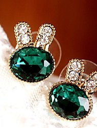 Stud Earrings Drop Earrings Cubic Zirconia Platinum Plated Alloy Fashion Green Jewelry 1set