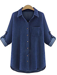 Women's Solid Blue Cotton Top , Plus Size / Casual / Day