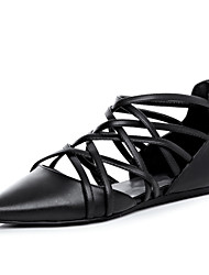 Women's Shoes Leather Flat Heel Pointed Toe Flats Outdoor / Casual Black