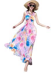Women's Holiday / Beach Print Chiffon / Swing Dress , Strap Maxi Others