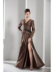 Lanting A-line Mother of the Bride Dress - Brown Floor-length Charmeuse