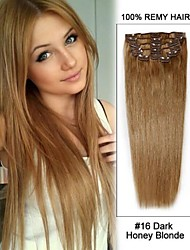 "20 ""7pcs # 16 donker blond honing straight clip in remy human hair extensions"