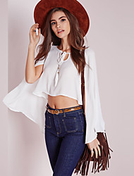 Women's Solid White Shirt,Round Neck Long Sleeve