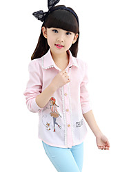 Girl's Cotton Spring Cartoon Pattern Fashion Voile Lace All-match Shirt