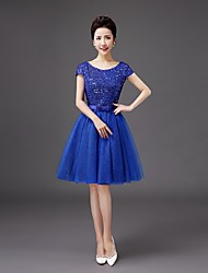Knee-length Sequined Bridesmaid Dress A-line Scoop with Bow(s)