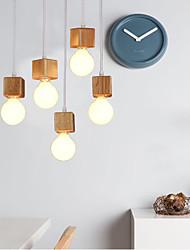 Nordic Ikea Solid Wood Square Lamp Holder Sitting Room Dining-Room Bar DroplightLamp LED Light(1PC)