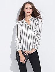 Women's Striped White Blouse , Stand Long Sleeve