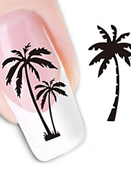 Water Transfer Printing Coconut Tree Nail Stickers