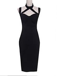Women's Sexy / Street chic Solid A Line Dress,Halter Midi Nylon